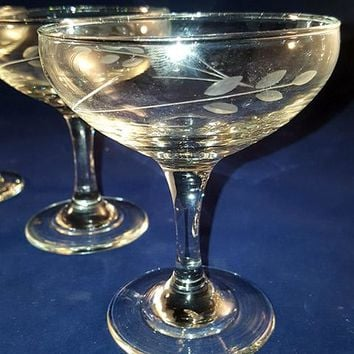 Wheat Etched Crystal Coupes with Faceted Stems  S/3
