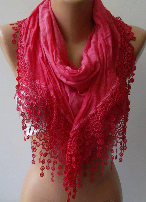 Dark Pink / Elegance  Shawl / Scarf with Lacy Edge / soft and light--