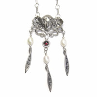 Altered Art Nouveau Garnet and Pearl Goddess Necklace