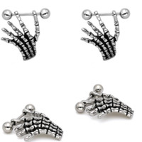 Cool Skeleton Piercing Skull Hand Shield Nipple Piercing Sexy Bar Rings Jewelry Creative Punk Body Jewelry -0411