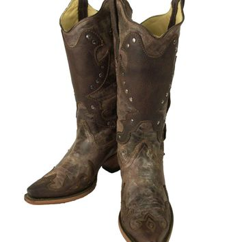 Corral Tobacco Brown with Conchos and Studs Boots R1050
