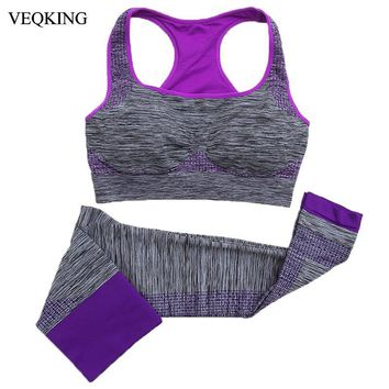 VEQKING 4 Colors Women Yoga Sets Breathable Fitness Workout Gym Running Sports Bra+Pant Suit Set