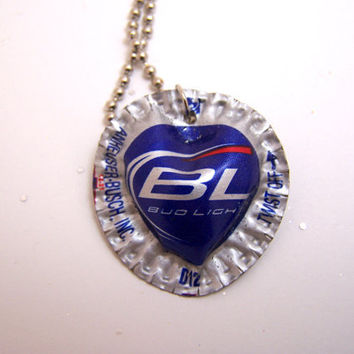 Bud Light Heart Shape Bottle Cap Necklace