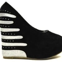 Black Faux Suede Striped Rhinestone Platform Wedge
