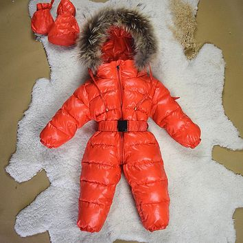 New High Quality Baby Winter Duck Down Rompers Thick Snowsuit Coat Warm Cloth Kids Jumpsuit Baby Outerwear