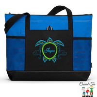 Personalized Sea Turtle Zippered Embroidered Tote Bag with Mesh Pockets, Beach Bag