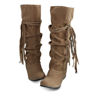 Concise Women's Boots With Tassels and Pure Color Design  #3556556