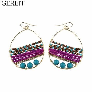 Bohemian Hand Made Colorful Resin Beads Earrings Vintage Big Gold Hollow Oval Drop Earrings For Women Indian Jewelry Pendients