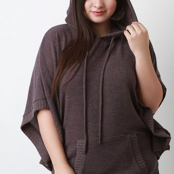 Hooded Rounded Hem Poncho Sweater
