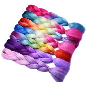ESB1ON Sallyhair Blue Purple Pink Blonde Color High Temperature Synthetic Jumbo Braids Ombre Braiding Hair Extension Black White Women