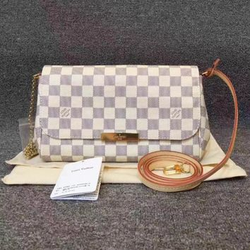 Louis Vuitton LV Stylish Ladies Tartan Print Leather Metal Chain Crossbody Satchel Shoulder Bag I