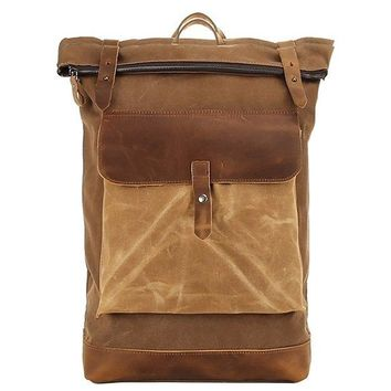 Waxed Canvas With Leather Waterproof Men's Backpack