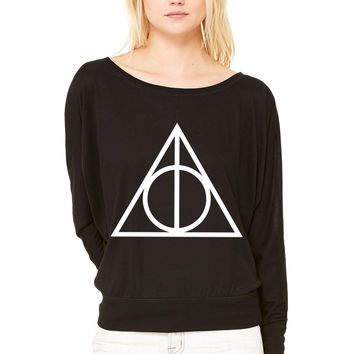 Deathly Hallows WOMEN'S FLOWY LONG SLEEVE OFF SHOULDER TEE
