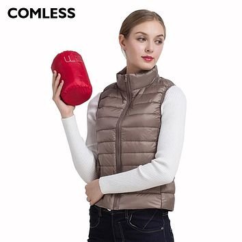 COMLESS Down Women Vest 15 Colors Ultralight Down Jacket with 90% Down 10% Feather Warm Vest Zip Up Women Stand Collar Down Vest