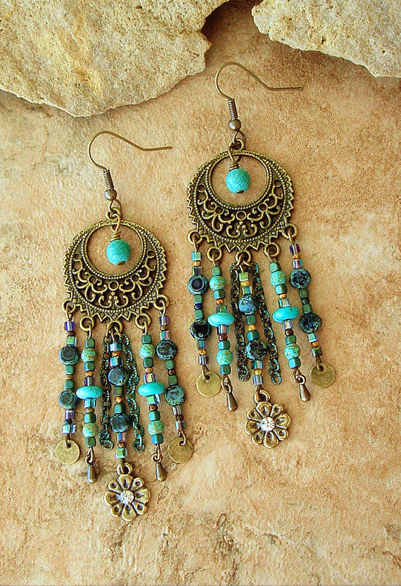 Boho chandelier earrings turquoise from bohostyleme boho