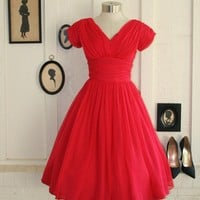 What a Flirt 195060's Party Dress Wedding Prom by CallMeChula