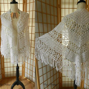 Vintage White Crochet Shawl, Long Fringe Handmade Wrap Scarf, Hand knit Poncho, Ladies Fashion Accessories Size S/M