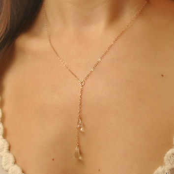 Simple and long necklace,Gold Necklace, Silver Necklace, Layered Necklace, Quartz Necklace, dainty necklace,rose gold lariat necklace /N-101