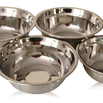 Best Rated Checkered Chef Stainless Steel Mixing Bowl Set 4 Metal Prep Bowls....