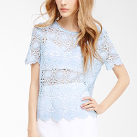 Scalloped Floral Crochet Top