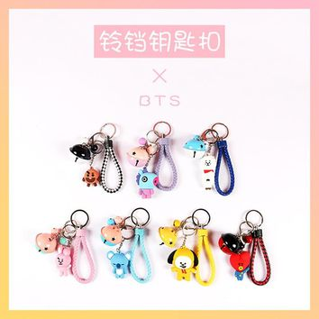 Kpop BTS BT21 Cute Doll Bell Keychain Phone Rope Strap Charm Lariat Lanyards PVC Keyring Round Bangtan Boys ARMY Accessories
