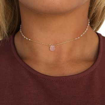 Dainty Bead Choker Necklace in Pink