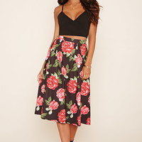 Pleated Floral Midi Skirt