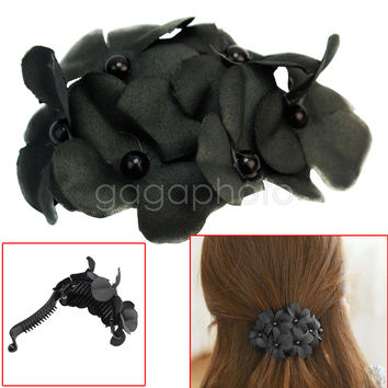 Flower Banana Clip Barrette Claw Styling Hair Accessory For Women Lady Black