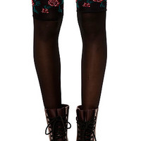 The Rose Garter Thigh Highs in Black