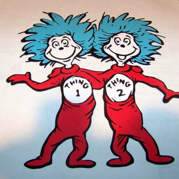 Thing 1 one and 2 two die cut piece scrapbooking dr. seuss