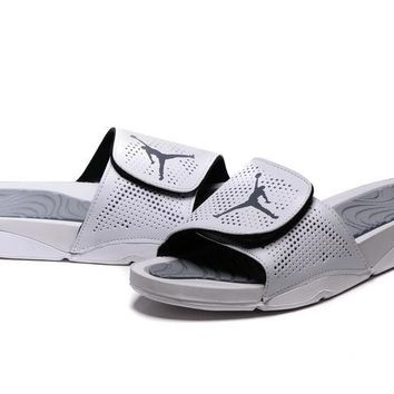 Nike Jordan Hydro V Retro White/Silver Sandals Slipper Shoes Size US 7-11
