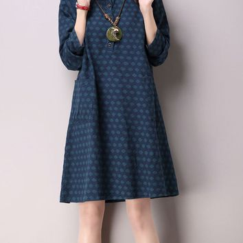 Streetstyle  Casual Thick Polka Dot Cotton/Linen Shift Dress