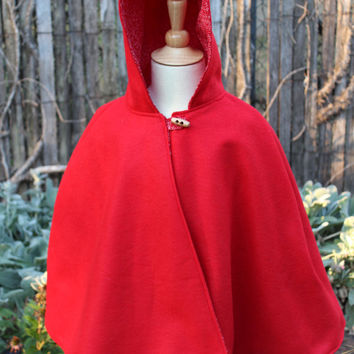 Little Red Riding Hood Cape, reversible hooded cape, red riding hood costume