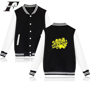 Nirvana Rock Band Fans Womens Winter Jackets And Coats High Quality NIRVANA Kurt Cobain Baseball Jackets Clothing For Couple XXS