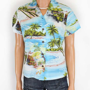 Hawaiian Tropical Scenic Rayon Shirt for Women