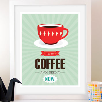 Retro Coffee poster, wall art, art posters, wall hanging, Typography poster coffee print, Coffee cup print, Inspirational print, Kitchen art