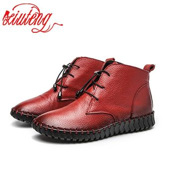 Xiuteng Winte Genuine Leather Ankle Boots Ladies Casual Warm Comfortable Flat Winter Boot For Women Footwear Female Women Shoes
