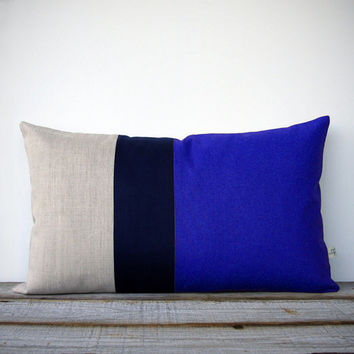 Colorblock Stripe Pillow in Cobalt Blue, Navy and Natural Linen (12x20) by JillianReneDecor - Modern Home Decor - Dazzling Blue - Coastal