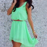 Women's Sleeveless High Low Chiffon Sundress Dress