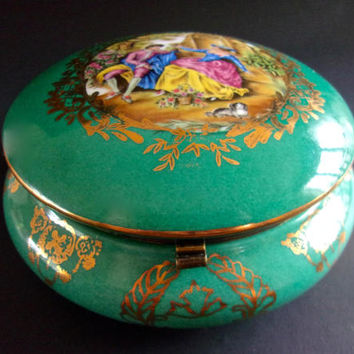 Limoges Hinged Green Scenic Porcelain Jewelry-Momento Box, Reproduction, Vintage