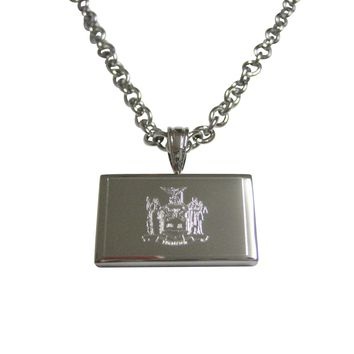 Silver Toned Etched New York State Flag Pendant Necklace