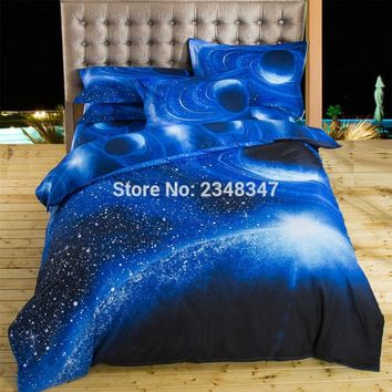 Fashion 4Pcs Single/Twin/Full/Double/Queen Size Bed Quilt/Duvet Cover Set Sheet Pillowcase Blue 3D Galaxy Space Stars Universe