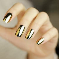 Punk Rock Styles Metal Colour Gold Or Silver Nails Art Stickers For Nail Manicure Sticker Water Decals Foils Nail Tools Beauty