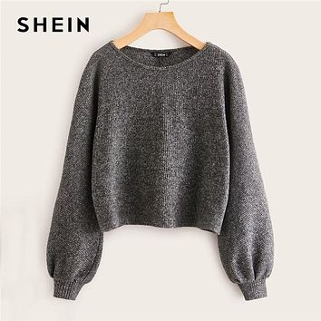 Grey Boat Neck Ribbed knit Casual Top Women Autumn High Street Bishop Sleeve Office Ladies Basic T-shirts