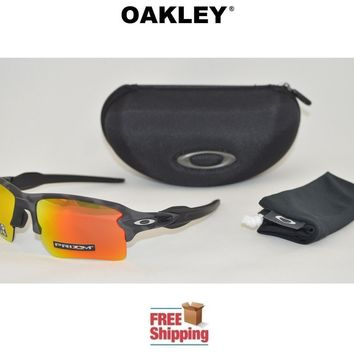 OAKLEY® SUNGLASSES FLAK™ 2.0 XL PRIZM™ BLACK CAMO COLLECTION W/ RUBY LENS + CASE