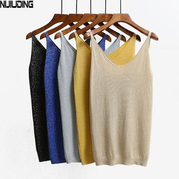 NIJIUDING Sexy Knitted Tank Tops Vest Sequined V Neck Tank Tops Sleeveless Tshirt Women Solid Camis Fitness ping