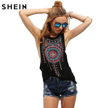 New Summer Black Women Sexy Tops Round Neck Sleeveless Vintage Tribal Print Fitness Casual Tank Tops