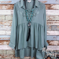 Sage Embroidered Eyelet Blouse