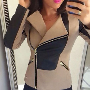 Beige and Black Turn-Down Collar Long Sleeve Zippered Jacket