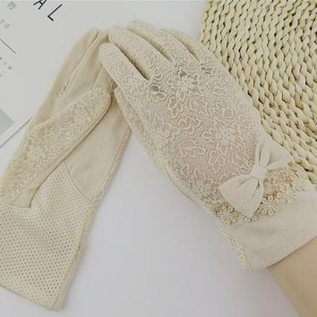 Women's spring and summer lace gloves girls bow knot sexy lace gloves lady's driving gloves R018